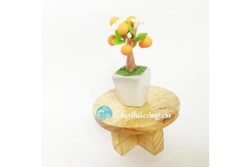 Bàn gỗ tròn mini trang trí - làm kệ mini