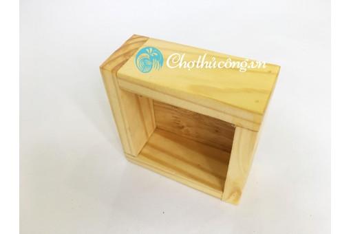 Chậu gỗ thông 10x10x5cm đa năng - cắm hoa,  hộp đựng đồ, kệ trang trí
