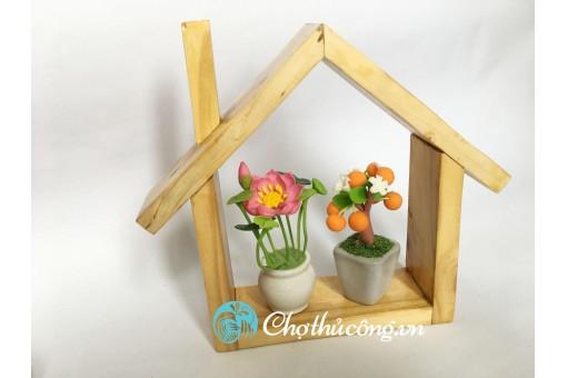 Khung kệ gỗ trang trí - Ngôi nhà mini 12x15cm