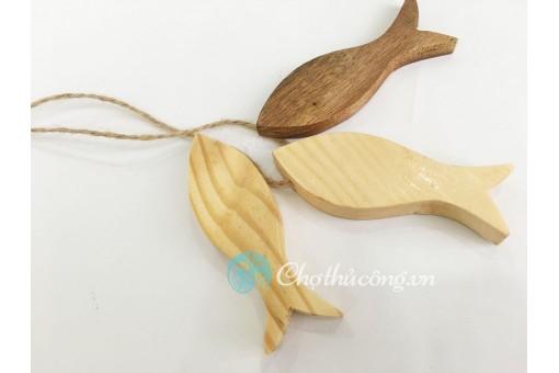 Combo chùm 3 con cá gỗ tự nhiên trang trí handmade